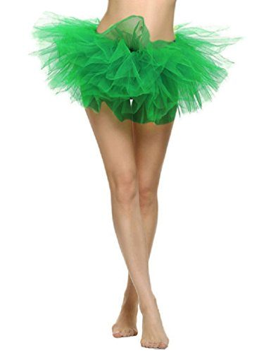 Women's Classic 5 Layered Tulle Tutu Skirt Dress Up Party Tutu Dark Green (Dress Up Womens)