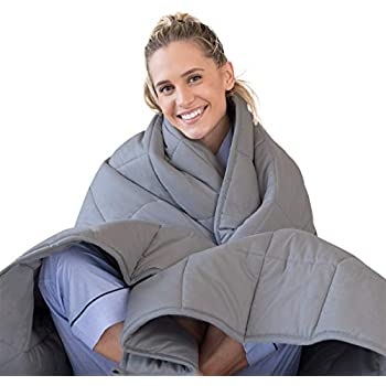 LUNA Adult Weighted Blanket | 20 lbs - 60x80 - Queen Size Bed | 100% Oeko-Tex Certified Cooling Cotton & Premium Glass Beads | Designed in USA | Heavy Cool Weight for Hot & Cold Sleepers | Dark Grey
