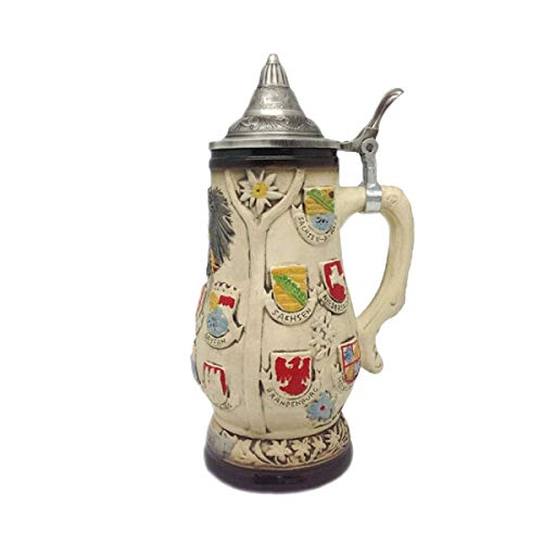 (Beer Stein Engraved Edelweiss Germany Coats of Arms Lidded Beer Mug by E.H.G. | 0.7 Liter)