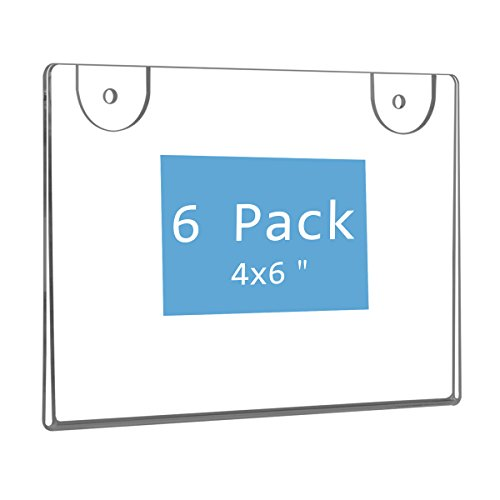 NIUBEE Wall Mount Sign Holder 4 x 6 Inch- Clear Acrylic Picture Frame for Paper- Horizontal(6 Pack) (Wall Acrylic Sign Holders)