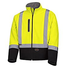 Pioneer V1100260-M Softshell Reflective Work Jacket, Zip-Closure Pockets, Green, Medium