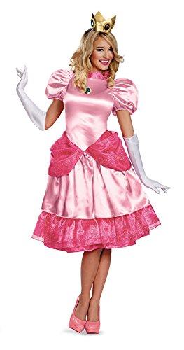 Disguise Women's Nintendo Super Mario Bros.Princess Peach Deluxe Costume, Pink, Medium/8-10