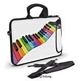 10 inch Laptop Case,Vibrant Colored Piano Keyboard Wave Musician Arts Entertainment Harmony Instrument Neoprene Laptop Shoulder Bag Sleeve Case with Handle and Carrying & External Side Pocket,for Netb