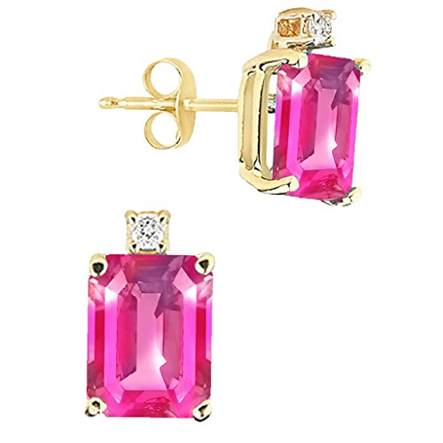 8x6MM Emerald Cut Pink Topaz And Diamond Earrings In 14K Yellow Gold (Gold Pink Topaz Earrings)