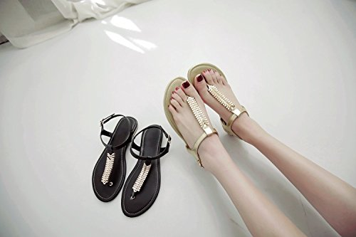 Ladies Flat Womens Post Strap strap Perizoma Shoes Jushee Bianco T Sandali dwqAUdfg