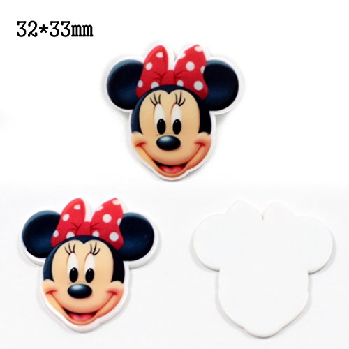 mdribbons Minnie Mouse Planar Resin 50pcs/lot For Hair Bow Centers Decoration, Acrylic Flatback Resin Embellishments,Planar Resin Flatback Cabochon Design 5