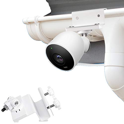 Wasserstein Weatherproof Gutter Mount Compatible with Nest Cam Outdoor with Magnetic Adapter - Better Placement for Better Protection (White)