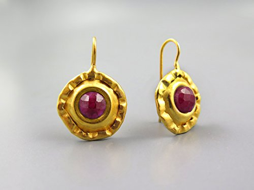 Handmade Earrings Gold Over Sterling Silver Natural Genuine Ruby Stone Large Round Drop Earring For Women's Jewelry Gifts For Women Anniversary Gifts For Her July Birthstone Earrings Gold (Neat Costume Ideas)