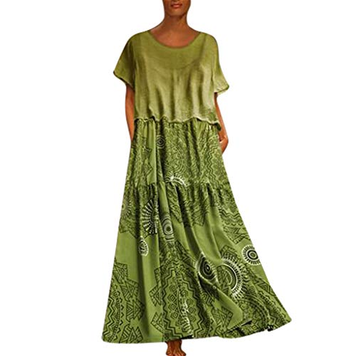 Tantisy ♣↭♣ Women's Summer Casual Plain Flowy Loose Beach Cami Maxi Dresses with Pockets + Short Sleeve Casual Tops Green