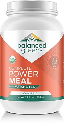 Power Shake - Organic All in ONE Plant Based Nutritional Shake, Power Meal Plus Matcha by Balanced Greens, Meal Replacement, Vanilla - 24 Servings