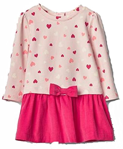 Baby Gap Girls Pink Heart Sweatshirt Corduroy Bow Skirt Dress 3-6 Months ()
