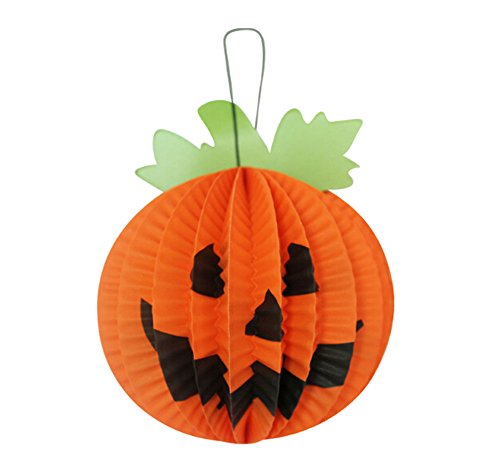 Koala Superstore Set of 5 Small Halloween Decorative Hanging Paper Lanterns (Stereo Pumpkin) ()