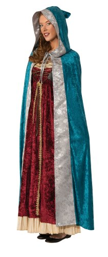 [Rubie's Costume Deluxe Hooded Camelot Cape, Blue, Standard Costume] (Womens Deluxe Hooded Robe Costumes)