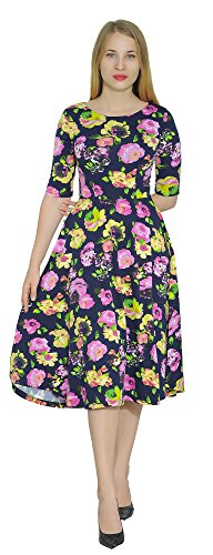 Marycrafts Women's Floral Print Fit Flared Midi Dress 4 Yellow Orchid Poppies ()