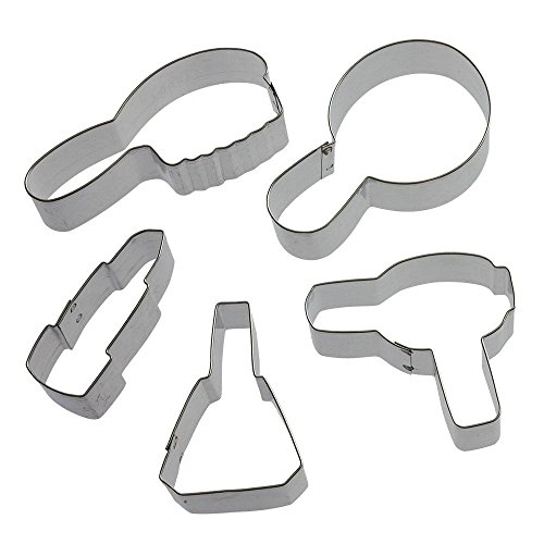 Diva Cookie Cutter Set - 5 Pieces - 2.75 in Nail Polish, 3.75 in Mirror, 3 in Hair Dryer, 2.75 in Lipstick, 4 in Hair Brush - Foose Cookie Cutters - US Tin Plated Steel HS0415
