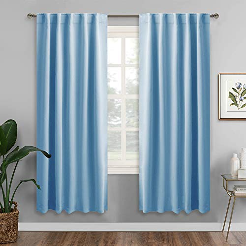 RYB HOME Deck Living Room Curtains, Back Loops & Rod Pocket for Easy Install, Country Rustic Panels for Master Bedroom Window Covering Decor, Wide 42 x Long 72 inches, Sky Blue, 2 Pieces