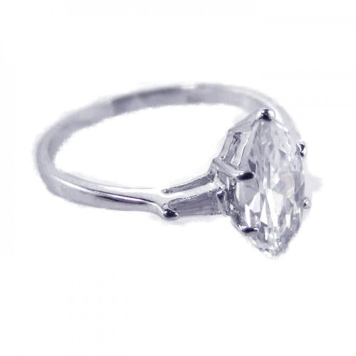 Prong Set Marquise Cubic Zirconia Single Stone Bridal Ring Rhodium Plated Sterling Silver Size 6