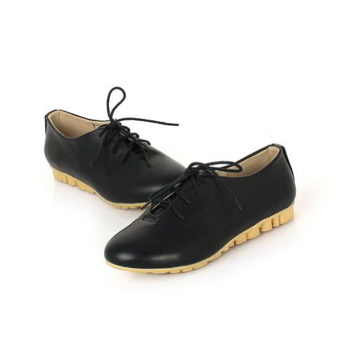 Pumps Closed Bandage Round Girls PU Low Heel Soft Material Toe Black with Solid VogueZone009 qpAwvCn