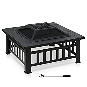 FURINNO FPT17039 Outdoor Stylish Square Fire Pit