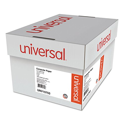Universal 15753 Green Bar Computer Paper, 2-Part Carbonless, 14-7/8 x11, Perforated, 1650 Sheets