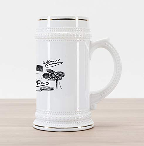 Ambesonne Movie Theater Beer Stein Mug, Cinematography Themed Artwork with Old Camera and Equipment Silver Screen, Traditional Style Decorative Printed Ceramic Large Beer Mug Stein, Black White