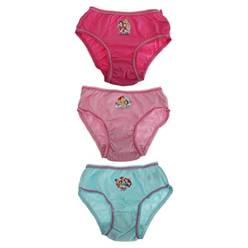 (Disney Princess Childrens Girls Cotton Briefs (Pack of 3) (2/3 Years) (Fuchsia/Teal/Pink))