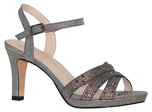 MVE Shoes Women's Open Toe Low Heel Strappy Adjustable Ankle Strap, NICOLE-28 Pewter -