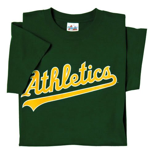 Oakland A's (Athletics) (ADULT XL) 100% Cotton Crewneck MLB Officially Licensed Majestic Major League Baseball Replica T-Shirt Jersey