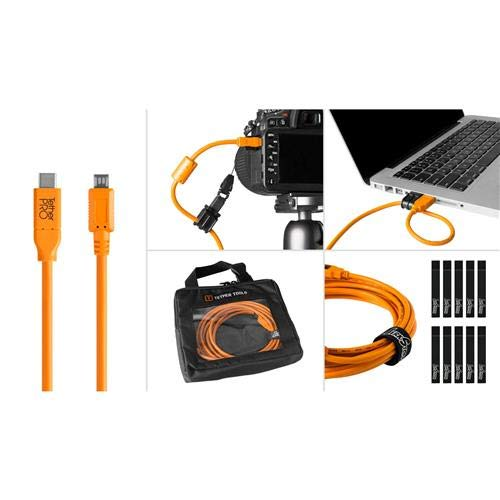 Tether Tools Starter Tethering Kit with 15' USB-C to 2.0 Micro-B 5-Pin Cable, Orange