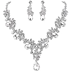 BriLove Wedding Bridal Necklace Earrings Jewelry Set for Women Crystal Teardrop Filigree Leaf Twig Statement Necklace Dangle Earrings Set Silver-Tone