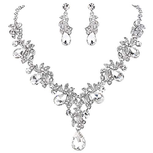 BriLove Wedding Bridal Necklace Earrings Jewelry Set for Women Crystal Teardrop Filigree Leaf Twig Statement Necklace Dangle Earrings Set Silver-Tone by BriLove