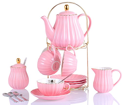 (Jusalpha Fine China Pink Coffee Cup/Teacup Set, 7 OZ Cups& Saucer Service for 4, with Teapot-Sugar Bowl-Cream Pitcher Teaspoons and tea strainer for Tea/Coffee, 17-Pieces (TW Full set))