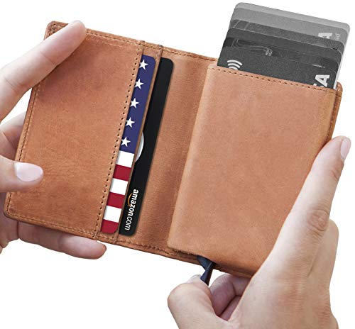 Leather RFID Minimalist Wallet - Wallets for Men with Slim Pop-up Card Holder ()