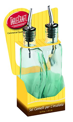 Tablecraft H918M Gemellie Set Oil and Vinegar Bottles, Tinted, Green Tablecraft Green