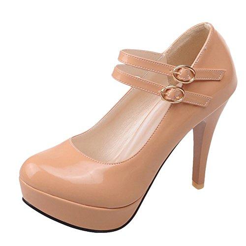 Carolbar Women's Chic Fashion High Heel Stiletto Platform Buckles Court Shoes Khaki eNgKnv