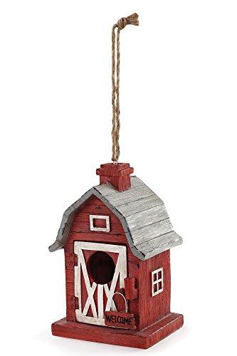 Farming Barn Red 5.75 x 9 Inch Resin Decorative Indoor Outdoor Hanging Birdhouse