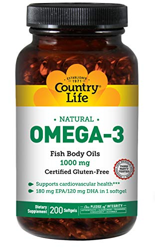 Country Life Natural Omega-3,1000 mg - 200 Softgels