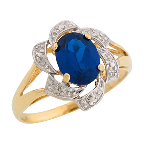 Sapphire Two Gold 14k Tone (14k Two-Tone Gold Simulated Blue Sapphire September Birthstone Ring)