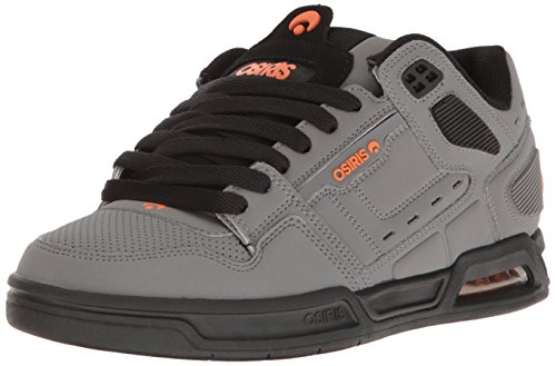 Osiris Shoes - Zapatillas de skateboarding de cuero nobuck para hombre Charcoal Black Orange