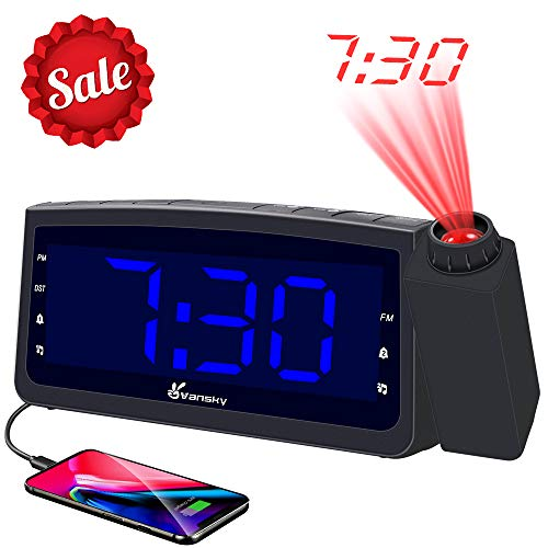 Vansky Projection Alarm Clock Radio with USB Charger, Digital Projection Clock for Bedrooms, FM Radio, 6.57