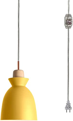 STGLIGHTING Swag Plug-in Pendant Light Wooden Handle Pendant Light with 20ft Plug-in UL On Off Dimmer Switch Cord Macaron Yellow Lampshade Loft Style Lamps for Dining Room Bulbs Not Included