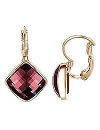 Yoursfs Leverback Earrings for Women Square Austrian Crystal Dangle Earrings