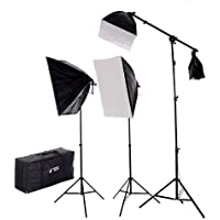 CowboyStudio New Design 2275 Watt Photo Studio Lighting Quick Setup Softbox Video Light Kit Boom Set & Carry Case, N-2000WBOOMKIT