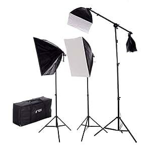 CowboyStudio New Design 2275 Watt Photo Studio Lighting Quick Setup Softbox Video Light Kit Boom Set & Carry Case, N-2000WBOOMKIT