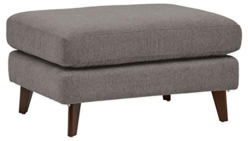 Rivet Sloane Mid-Century Modern Ottoman with Tapered Legs, 31.9 W, Storm Gray