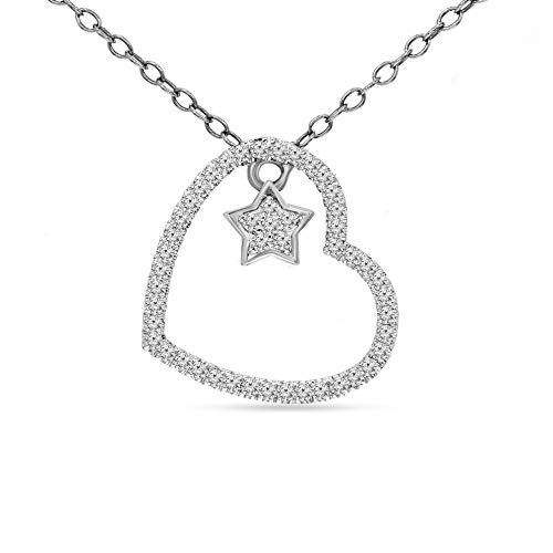 100% Pure Diamond Pendant 0.11ct Diamond Pendant For Women I1-Clarity 10K White Gold Diamond Jewelry Gifts For Women (HI-Color)