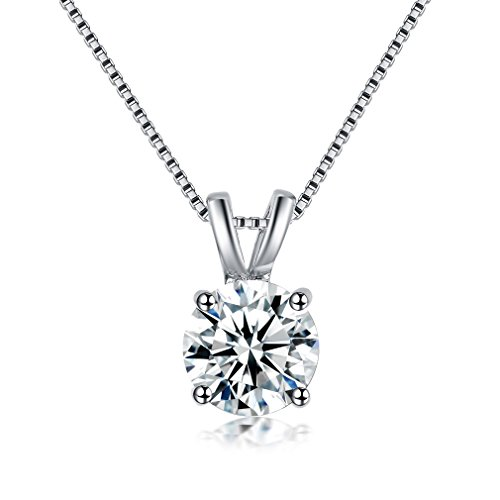 Bella Lotus SHINCO Jewelry 2 Carat Round Cut Clear CZ Crystal Solitaire Pendant Necklaces, 18 (16+2 Extender), Gift for Woman/Girl Love, Thanks, Christmas, New Year
