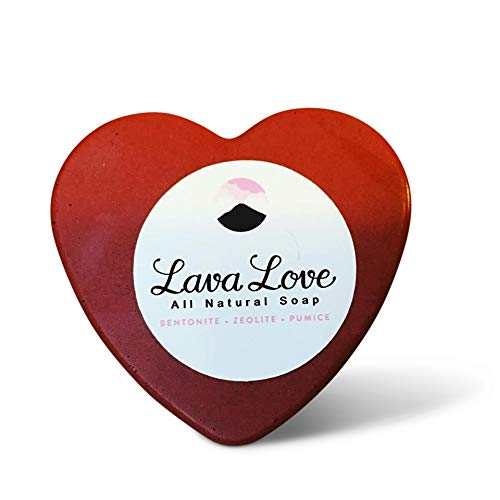 - Lava Love Red Heart, Vegan Soap Made with Volcano Volcanic Ash Gold Mica and Organic Shea Butter (Red Bentonite, Zeolite, Pumice) 3.5 Ounce Bar