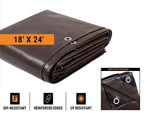 Union Eletina Super Heavy Duty 16 Mil Brown Poly Tarp Cover - Thick Waterproof, UV Resistant, Rot, Rip and Tear Proof Tarpaulin with Grommets and Reinforced Edges - by