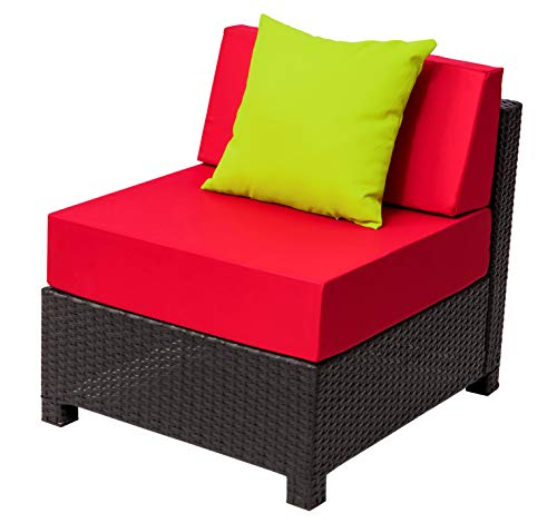 MCombo DIY Deluxe Outdoor Garden Patio Wicker Couch Chair Rattan Aluminum Frame Furniture Sofa Cushioned Table Seats (Armless Chair) 6080